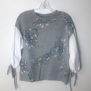 DKNY Floral Tie Sleeve Sweat Top Size Small